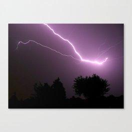 Purple Lightning Night Sky Canvas Print