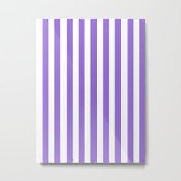 Narrow Vertical Stripes - White and Dark Pastel Purple Metal Print