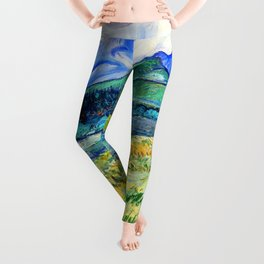 Van Gogh Mountain Meadow Landscape Painting Print Leggings