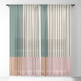 Color Block Lines V Sheer Curtain