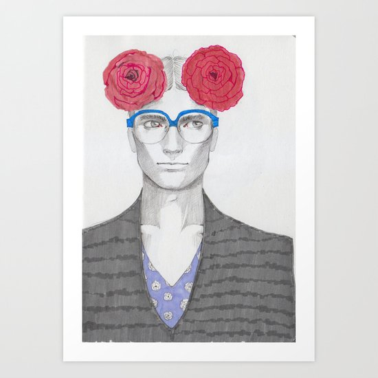 Two Red Flowers 02 Art Print