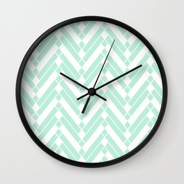 Chevron Herringbone ZigZag pattern - light mint green #Society6 Wall Clock