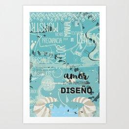 El amor es un monstruoso diseño! Art Print