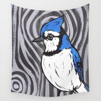 jay fleck Wall Tapestries featuring Blue Jay by turddemon