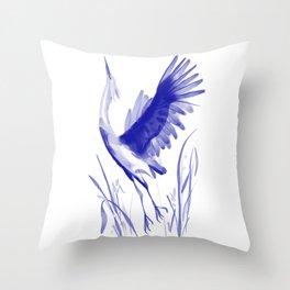Watercolor stork Throw Pillow