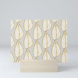 Winter Leaves Grey and Gold Mini Art Print
