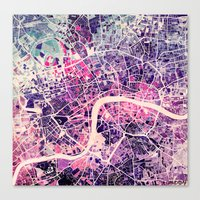 london Canvas Prints featuring London Mosaic Map #2 by Map Map Maps