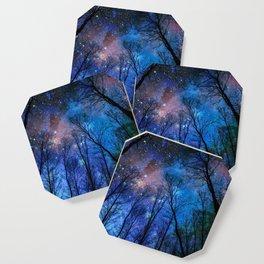Black Trees Dark Blue Space Coaster