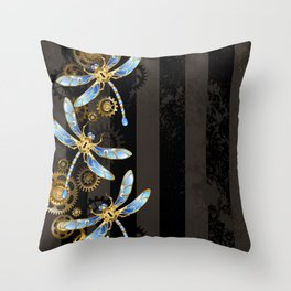 Steampunk Design with Mechanical Dragonflies Throw Pillow