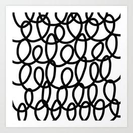 Loop the Loop / Black on white Art Print
