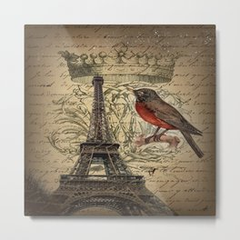 I love Paris Shabby chic Robin French Scripts Jubilee Crown Vintage Paris Eiffel Tower Metal Print