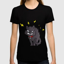 cartoon scared black cat T-shirt