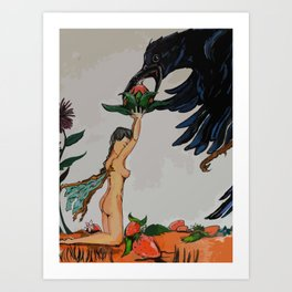 The Fairy and the Crow Art Print