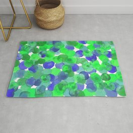 Watercolour Circles- Green and Blue Palette Rug