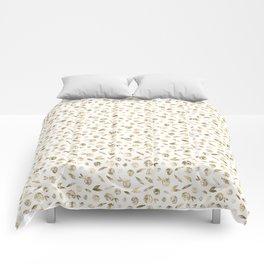 Gold Roses Rosette Pattern on White Comforters