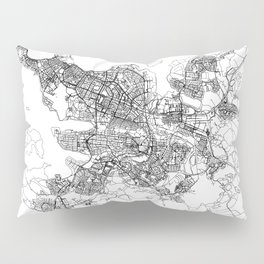 Reykjavik White Map Pillow Sham