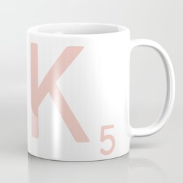 Pink Scrabble Letter K - Scrabble Tile Art and Accessories Coffee Mug