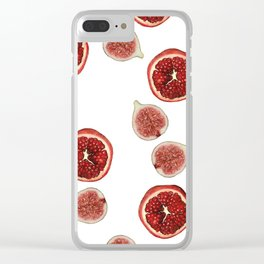 Pomegranate - Figs Pattern white Clear iPhone Case