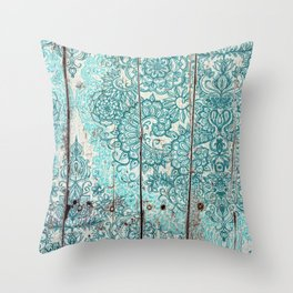 Teal & Aqua Botanical Doodle on Weathered Wood Throw Pillow