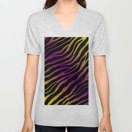 Ripped SpaceTime Stripes - Yellow/Purple Unisex V-Neck