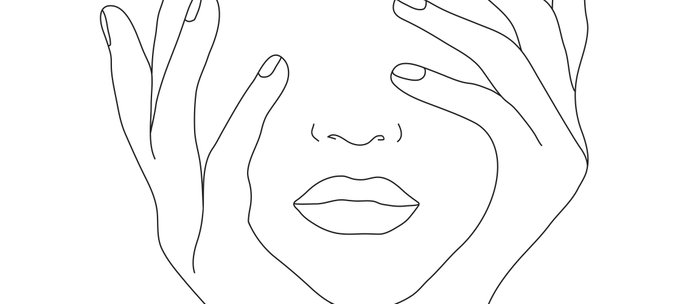 Minimal Line Art Woman with Hands on Face Kaffeebecher