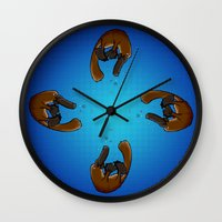 platypus Wall Clocks featuring Playful Platypus by BasiliskOnline