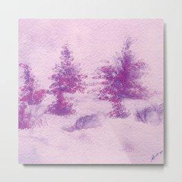 Pink Christmas Watercolor Metal Print