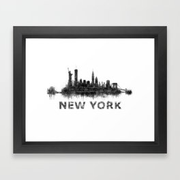 NY New York City Skyline NYC Black-White Watercolor art Framed Art Print