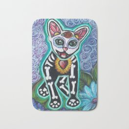 Turquoise Day of the Dead Cat Bath Mat
