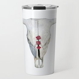 Cattle Skull with Pink Hydrangea Blossoms on White Travel Mug