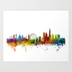 London England Skyline Cityscape Art Print