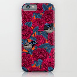 Red waratah and fairy wrens  iPhone Case