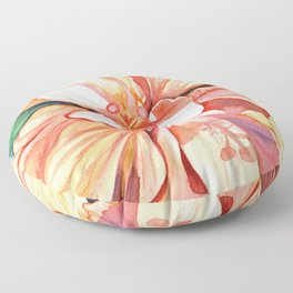Double Peach Tropical Hibiscus Floor Pillow