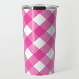 Pink & White Checkered Pattern-Mix and Match with Simplicity of Life Travel Mug