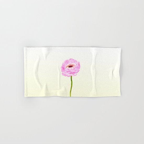 pink cultivited buttercup, Ranunculus Hand & Bath Towel