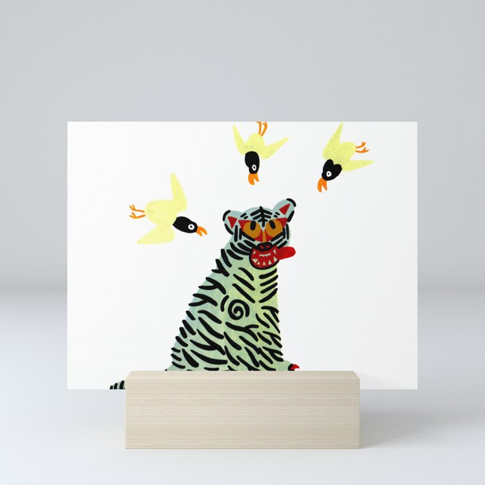 Korean traditional tiger painting by yoonhyehe Mini Art Print