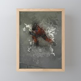 On Ice - Ice Hockey Player Modern Art Framed Mini Art Print