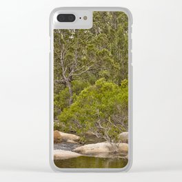Peaceful river view with rocks Clear iPhone Case