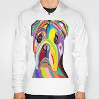 bulldog Hoodies featuring Bulldog by EloiseArt