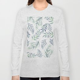 Floating Leaves Blue #society6 #buyart Long Sleeve T-shirt