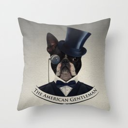 Boston Terrier  - The American Gentleman Throw Pillow