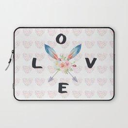 Watercolor Roses Arrows Love Typography Laptop Sleeve