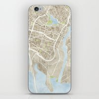oakland iPhone & iPod Skins featuring Oakland California Watercolor Map by Anne E. McGraw