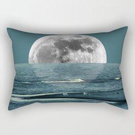 Teal Coastal Beach Art Ocean Full Moon Seagull Lake House A285 Rectangular Pillow