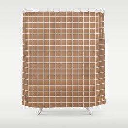 Café au lait - brown color -  White Lines Grid Pattern Shower Curtain