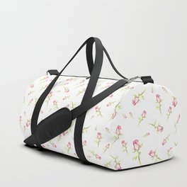 Single Hand Painted Watercolor Pink Red Rose Duffle Bag