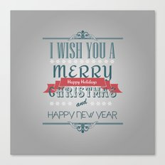Merry Christmas grey Canvas Print