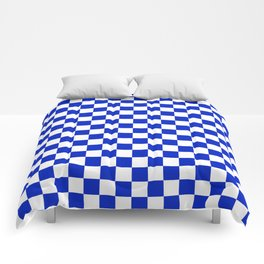 Cobalt Blue and White Checkerboard Pattern Comforters