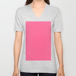 French Pink Solid Color Block Unisex V-Neck