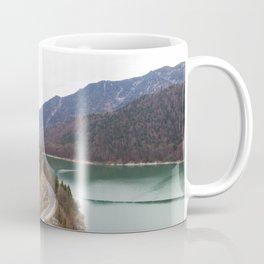 german alps road lake trees forrest drone aerial shot Coffee Mug
